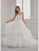 povoljno Vjenčanice-A-kroj Srcoliki izrez Srednji šlep Čipka / Til Izrađene su mjere za vjenčanja s Perlica / Aplikacije / Sashes / Ribbons po ANGELAG