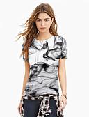halpa Miesten t-paidat ja hihattomat paidat-Naisten Painettu Color Block / 3D / Kuvitettu Perus / Liioiteltu T-paita Valkoinen