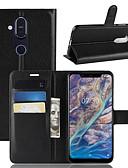 Недорогие Чехлы для телефонов-Кейс для Назначение Nokia Nokia 9 PureView / Nokia 7 / Nokia 7 Plus Кошелек / Бумажник для карт / Флип Чехол Однотонный Твердый Кожа PU