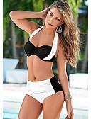 hesapli Bikiniler ve Mayolar-Kadın's Beyaz Doğal Pembe Açık Mavi Boyundan Bağlamalı Yarım Tanga Bikiniler Mayolar - Solid Arkasız XL XXL XXXL Beyaz