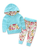 billige De flotteste sparkedragter-Baby Pige Aktiv / Basale Trykt mønster Langærmet Normal Bomuld Tøjsæt Lyseblå
