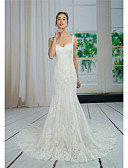 cheap Wedding Dresses-Mermaid / Trumpet Sweetheart Neckline Court Train Lace / Tulle Made-To-Measure Wedding Dresses with Appliques / Lace by ANGELAG