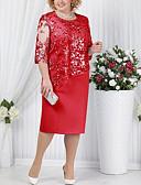 preiswerte Romantische Spitze-Damen T Shirt Kleid - Spitze Midi