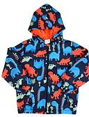 cheap Girls' Tops-Kids Boys' Street chic Print Print Polyester Trench Coat Blue