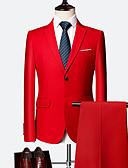זול חליפות-כחול ים / קריסטל / ענבים אחיד גזרה רגילה כותנה חליפה - פתוח Single Breasted Two-button
