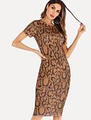 halpa Pluskokoiset mekot-Naisten Katutyyli Tuppi Mekko - Leopardi, Painettu Polvipituinen