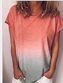 hesapli Tişört-Kadın's İnce - Tişört Zıt Renkli Büyük Bedenler Sarı