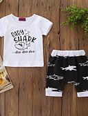 abordables Sets de Vêtements pour Garçon Bébés-bébé Garçon Actif / Basique Imprimé Imprimé Manches Courtes Normal Coton Ensemble de Vêtements Blanc / Bébé