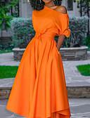 お買い得  ヴィンテージドレス-女性のマキシスイングワンショルダーオレンジm l xl xxl