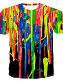 billiga Herrtröjor-Tryck, Regnbåge T-shirt Herr Rund hals Regnbåge XXXXL
