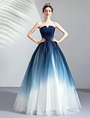 preiswerte Abendkleider-A-Linie Trägerlos Boden-Länge Tüll Kleid mit Gerafft durch LAN TING Express