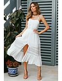 Недорогие Вечерние платья-Жен. Богемный Элегантный стиль С летящей юбкой Платье - Однотонный, Кружева С разрезами Средней длины