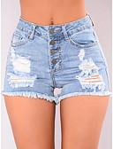 hesapli Kadın Pantolonl-Kadın's Seksi Günlük Şortlar Pantolon - Solid Delikli / Buton Yüksek Bel Pamuklu Havuz L XL XXL