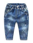 baratos Jeans Para Meninos-Infantil Para Meninos Básico Moda de Rua Sólido Buraco rasgado Algodão Calças Azul