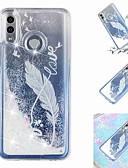 Недорогие Чехлы для телефонов-Кейс для Назначение Huawei Huawei P20 / Huawei P20 Pro / Huawei P20 lite Движущаяся жидкость / Прозрачный / С узором Кейс на заднюю панель Перья Мягкий ТПУ