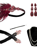 cheap Historical & Vintage Costumes-Cosplay Charleston Vintage 1920s The Great Gatsby Costume Women's Gloves Necklace Flapper Headband Earrings Red / Red black / Red and White Vintage Cosplay Festival / Feather