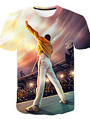 olcso Férfi pólók és pulóverek-Alap Kerek Férfi Extra méret Póló - 3D / Rajzfilm / Portré, Nyomtatott Szivárvány XXXXL / Rövid ujjú