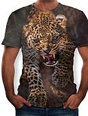 hesapli Erkek Tişörtleri ve Atletleri-Erkek Yuvarlak Yaka İnce - Tişört Geometrik / 3D Kahverengi