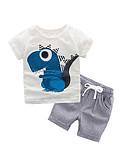 זול שמלות לתינוקות-סט של בגדים כותנה שרוולים קצרים דפוס פסים / דפוס בסיסי / פאנק & גותיות בנים ילדים