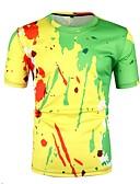 hesapli Erkek Tişörtleri ve Atletleri-Erkek Yuvarlak Yaka Tişört Zıt Renkli AB / ABD Beden Sarı L / Kısa Kollu