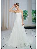 abordables Vestidos de Novia-Corte en A Escote Corazón Corte Encaje / Tul Vestidos de novia hechos a medida con Apliques / Encaje por ANGELAG