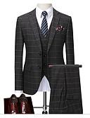 preiswerte Anzüge-Grau Gestreift Schlanke Passform Polyester Anzug - Fallendes Revers Einreiher - 2 Knöpfe