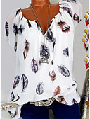 cheap Women's Blouses-Women's T-shirt - Graphic Floral / Feather / Fashion V Neck Black XXXL / Spring / Summer / Fall / Winter