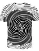 hesapli Erkek Tişörtleri ve Atletleri-Erkek Yuvarlak Yaka Tişört Kırk Yama, 3D Büyük Bedenler Gri / Kısa Kollu