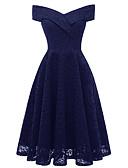 preiswerte Abendkleider-A-Linie Schulterfrei Tee-Länge Spitze Vintage Inspirationen Abiball Kleid mit Spitzeneinsatz durch LAN TING Express