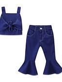 זול אוברולים טריים לתינוקות-סט של בגדים כותנה קצר ללא שרוולים פפיון אחיד פעיל / בסיסי בנות תִינוֹק / פעוטות