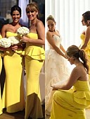cheap Bridesmaid Dresses-Mermaid / Trumpet Sweetheart Neckline Floor Length Jersey Bridesmaid Dress with Cascading Ruffles by JUDY&JULIA