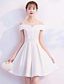 preiswerte Abendkleider-A-Linie Illusionsausschnitt Kurz / Mini Satin Kleid mit Plissee durch LAN TING Express