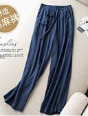 hesapli Kadın Pantolonl-Kadın's Temel / Sokak Şıklığı Geniş Bacak / Chinos Pantolon - Solid Kırk Yama Keten Siyah Bej Koyu Mavi XL XXL XXXL