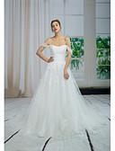 Χαμηλού Κόστους Φορέματα ειδικών περιστάσεων-Γραμμή Α Ώμοι Έξω Πολύ μακριά ουρά Δαντέλα / Τούλι / Με πούλιες Φορέματα γάμου φτιαγμένα στο μέτρο με Χάντρες / Διακοσμητικά Επιράμματα / Δαντέλα με ANGELAG