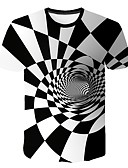 cheap Men's Tees & Tank Tops-Men's EU / US Size Slim T-shirt - Geometric Round Neck White XXL