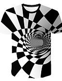 hesapli En Çok Satanlar-Erkek Yuvarlak Yaka Tişört Geometrik / 3D Beyaz XXL