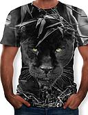 preiswerte Herren T-Shirts & Tank Tops-Herrn 3D / Tier T-shirt, Rundhalsausschnitt Schlank Schwarz XL