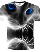 povoljno Muške majice i potkošulje-Veći konfekcijski brojevi Majica s rukavima Muškarci 3D / Životinja Okrugli izrez Print Sive boje XXXL