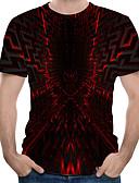 hesapli Erkek Tişörtleri ve Atletleri-Erkek Yuvarlak Yaka Tişört Zıt Renkli Büyük Bedenler YAKUT