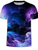 cheap Men's Tees & Tank Tops-Men's Cotton T-shirt - Geometric / Color Block / 3D Print Round Neck Rainbow XL