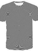 hesapli Erkek Tişörtleri ve Atletleri-Erkek Yuvarlak Yaka Tişört Desen, Çizgili / 3D / Grafik Büyük Bedenler Beyaz XXXL