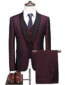 זול חולצות לגברים-בגדי ריקוד גברים פול יין XL XXL XXXL חליפות קולור בלוק דש שאל רזה
