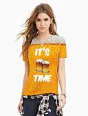 hesapli Erkek Tişörtleri ve Atletleri-Kadın's Tişört Desen, Zıt Renkli / 3D / Harf Sokak Şıklığı / Abartılı Sarı