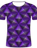 halpa Miesten t-paidat ja hihattomat paidat-Miesten Pyöreä kaula-aukko Puuvilla Painettu Geometrinen / 3D Pluskoko - T-paita Purppura