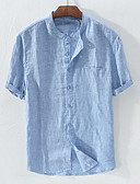 cheap Men's Shirts-Men's Basic EU / US Size Linen Shirt - Solid Colored Patchwork Standing Collar White XXL