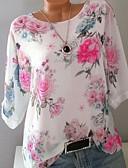 cheap Women's T-shirts-Women's Daily Wear Plus Size Slim T-shirt - Floral Floral / Fashion / Print Blushing Pink XXL / Spring / Summer / Fall / Winter