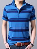 povoljno Muške polo majice-Polo Muškarci Prugasti uzorak Kragna košulje Print Plava XL