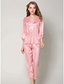 hesapli Pijamalar-Derin V Takımlar Pijamalar Solid Kadın's