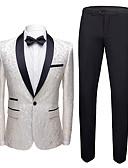 זול חליפות-טוקסידו גזרה רגילה צווארון צעיף (שאל) Single Breasted One-button כותנה / פוליאסטר / תערובת כותנה פרחוני  בוטני