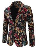povoljno Maxi haljine-Muškarci Sako, Geometrijski oblici / Duga Klasični rever Pamuk / Lan Duga XL / XXL / XXXL